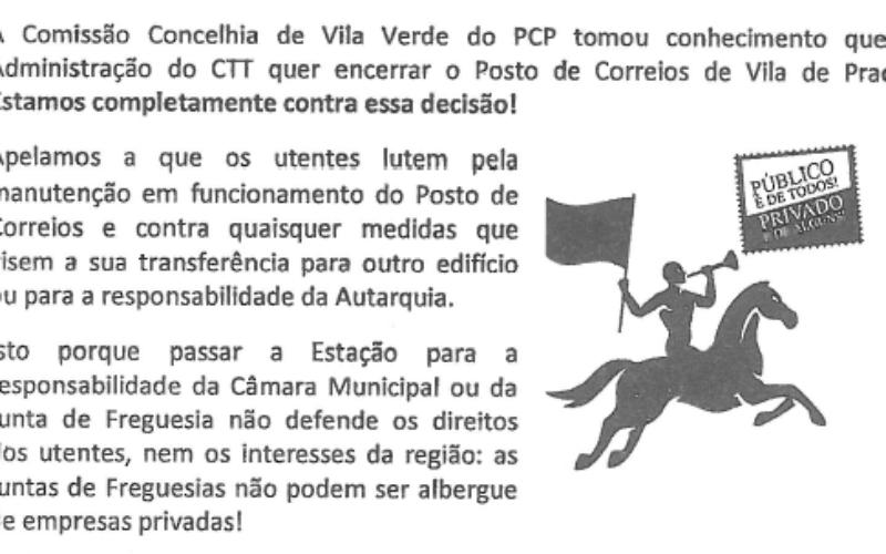 Correios | Comissão Concelhia de Vila Verde do PCP denuncia intenção de encerramento dos CTT em Prado