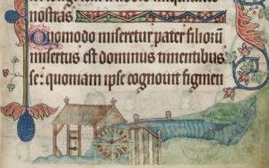 Azenhas III: Azenha e pesqueiras ilustradas no Saltério de Luttrell produzido no séc. XIV. Luttrell Psalter. Add MS 42130, fol. 181r; Fonte: Biblioteca Britânica.