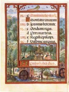 Azenhas III: Azenhas retratadas no Livro de Horas de D. Manuel I - Calendário do mês de Abril; Fólio 9v. Manuscrito Ilustrado entre 1517-c. 1551 por António de Holanda; Fonte: Museu Nacional de Arte Antiga.
