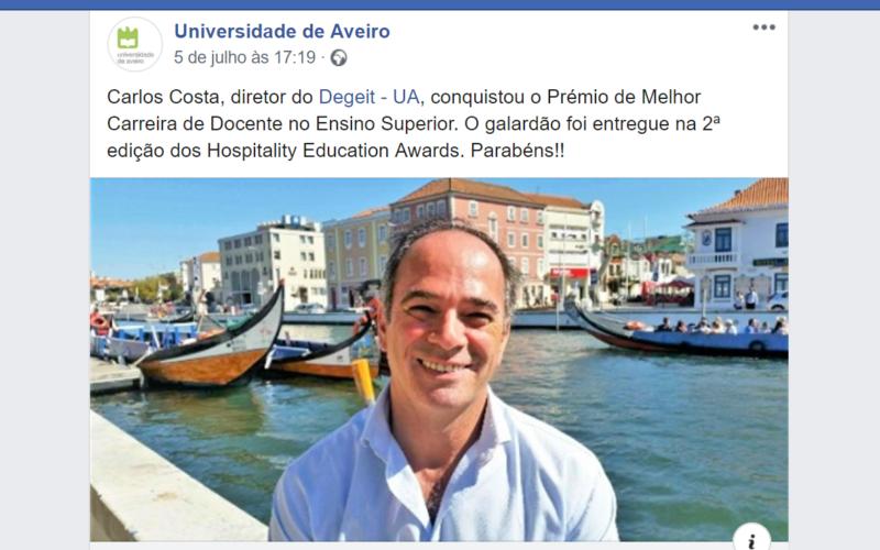 Ensino | Barcelense Carlos Costa conquista Prémio de Melhor Carreira de Docente na área do Turismo em Portugal