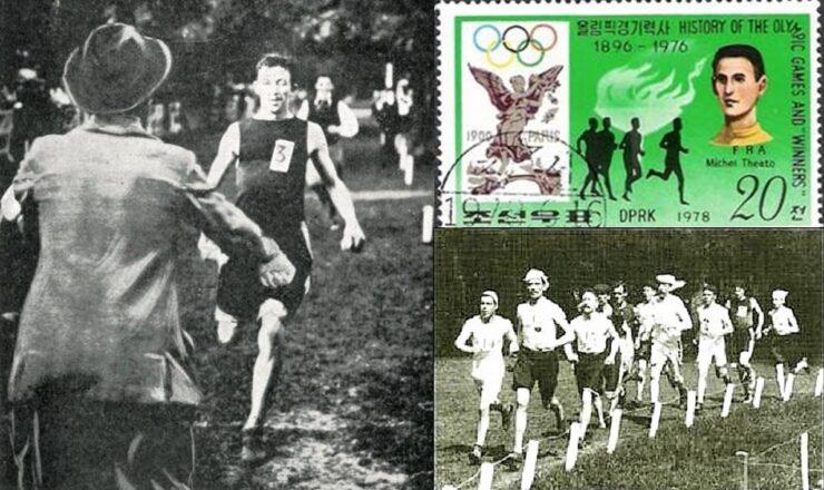 Michel Theato Jogos Olímpicos 1900 Paris Vencedor Maratona 00 montagem